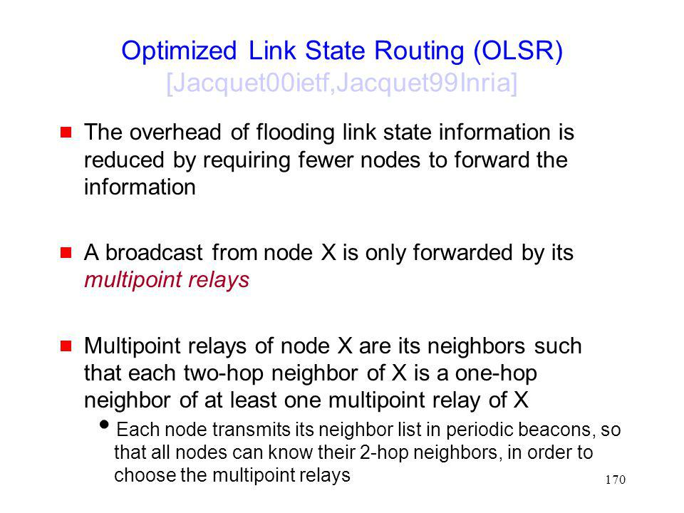 Optimized Link State Routing (OLSR) [Jacquet00ietf,Jacquet99Inria]